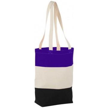 Colour-block 227 g/m² cotton tote bag120259-config