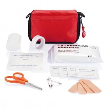 First aid set in pouch, red/whiteP265.310