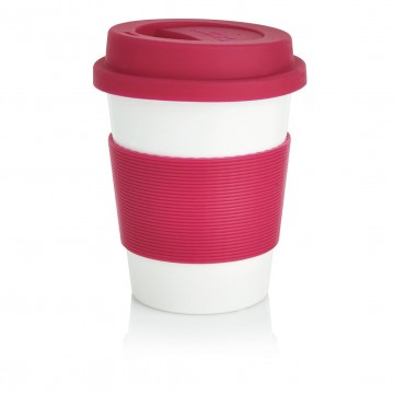PLA coffee cup, white/pinkP432.889