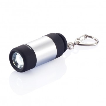 USB rechargable LED torch with keychain, silverP510.312