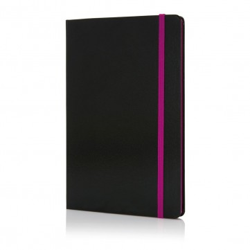 Deluxe hardcover A5 notebook with coloured side, purpleP773.300