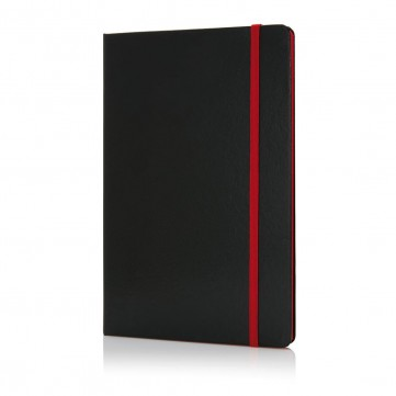 Deluxe hardcover A5 notebook with coloured side, redP773.304