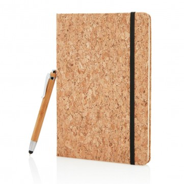 A5 notebook with bamboo pen including stylus, brownP773.779