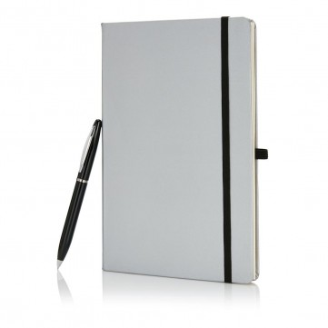A5 size notebook with pen in gift box, silverP773.561