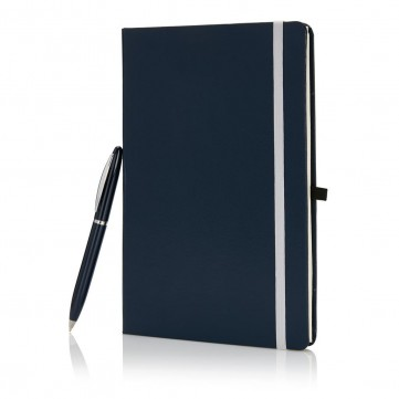 A5 size notebook with pen in gift box, blueP773.565