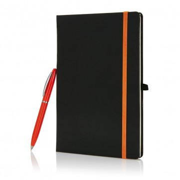 A5 size notebook with pen in gift box black/orangeP773.568