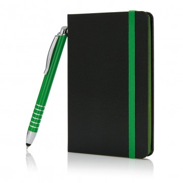 A6 notebook with touch pen greenP773.917