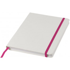 White A5 spectrum notebook with coloured strap