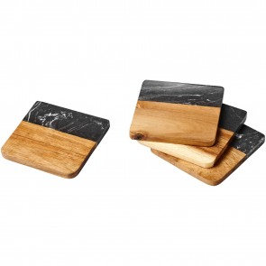 Harlow marble and wood coasters
