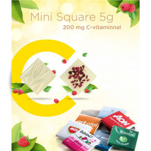 5g Mini Square Chocolate with 200 mg C-Vitamin