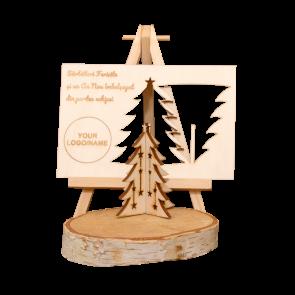 Felicitare din lemn cu decorațiune brăduț 3D ACP01