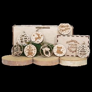 Set globuri in cutie lemn Craciun - AXD0719