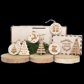 Set decoratiuni in cutie lemn Craciun - AXD0819