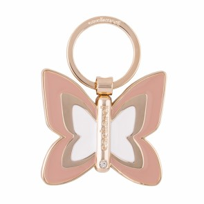 The Pontia keyring is a bicolor enamel  butterfly shape. it is decorated with a refined zircon stone