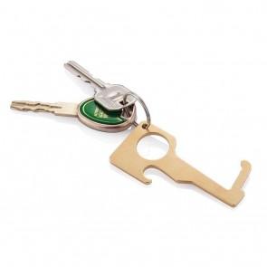 Brass hygienic zero contact keychain, brown