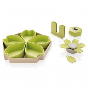 ECO wheat straw 4pcs kitchen set, green