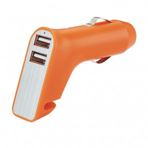 Dual port car charger with belt cutter and hammer,