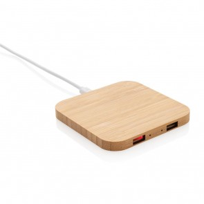 Bamboo 5W wireless charger with USB ports, brown