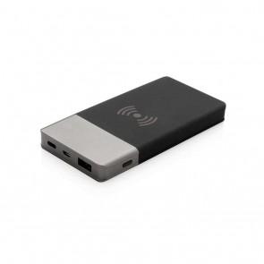 5.000 mAh Soft Touch Wireless 5W Charging Powerbank , grey