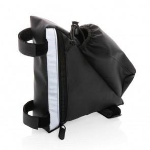 PU high visibility bike frame bag with bottle holder, black
