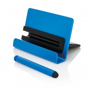 Aluminium phone stand with touch pen, blue