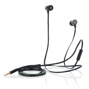 Flat wire earbuds with mic, black/black