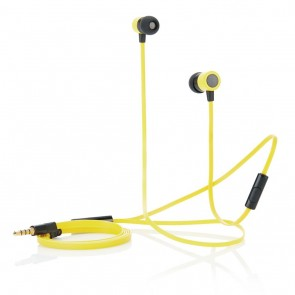 Flat wire earbuds with mic, yellow