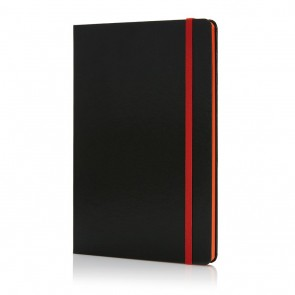 Deluxe hardcover A5 notebook with coloured side,