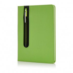 Standard hardcover PU A5 notebook with stylus pen,