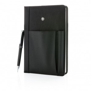 Swiss Peak refillable notebook and pen set, black