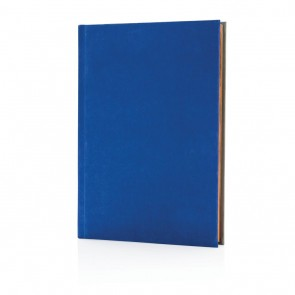 Deluxe fabric 2-in-1 A5 notebook ruled & plain, royal blue