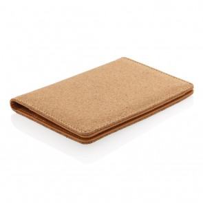 Cork secure RFID passport cover, brown