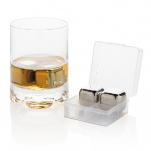 Reusable stainless steel ice cubes 4pc, silver