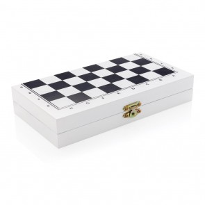 Deluxe 3-in-1 board game in wooden box, white