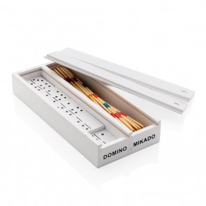Deluxe mikado/domino in wooden box, white