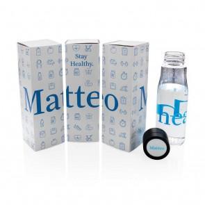 Printed sample Aqua hydration tracking tritan bottle, blue